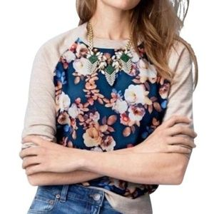 J. Crew Wool Silk Panel Floral Sweater
